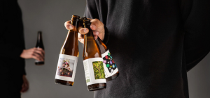 glass beer bottle printed labels